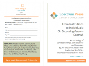 Spectrum Press Anthology: From Institutions to Individuals with pre-ordering information contract spectrumpress@spectrumsociety.org for more information